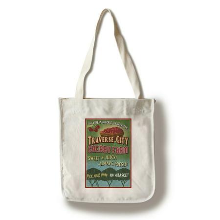 Traverse City, Michigan - Cherry Farm Vintage Sign - Lantern Press Artwork (100% Cotton Tote Bag - Reusable)