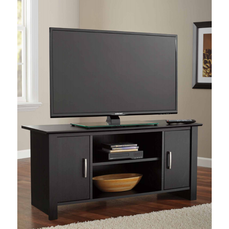Mainstays TV Stand For Flat Screen TVs Up To 47 True Black Oak