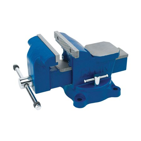 Irwin 5 in. Steel Workshop Bench Vise Blue Swivel