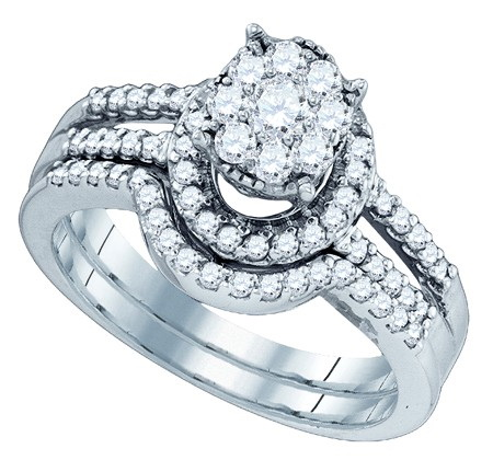 10K White Gold 0.78ctw Fancy Dazzling Pave Diamond Soli Star Bridal Set Ring