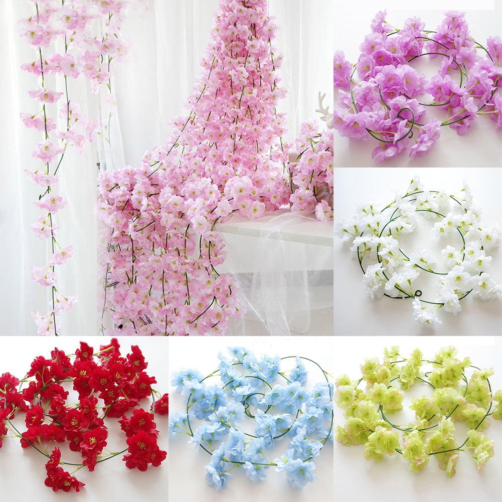 Heepo Artificial Fake Cherry Blossom Vine Flower Plant Wedding Party Home Decoration