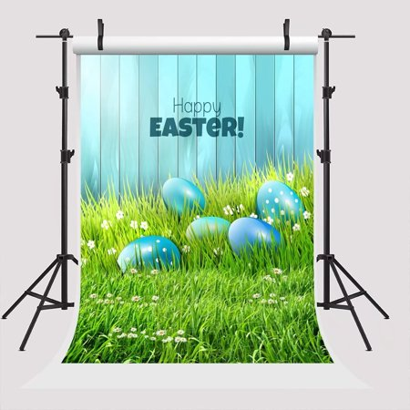 GreenDecor Polyester Fabric 7x5ft Green Grass Easter Photography Backdrop Blue Eggs Blue Wood Wall Background for Parties Backdrop (Wall Backgrounds For Parties)