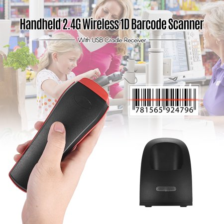Handheld 2.4G Wireless 1D Barcode Scanner Bar Code Reader with USB Cradle Receiver Charging Base Long Transmission Distance for Mobile Payment Supermarket Store Logistic Computer Screen (Scan This Code With Your Mobile Device)