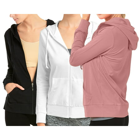 Women's Lightweight Cotton Blend Long Sleeve Zip Up Thin Hoodie