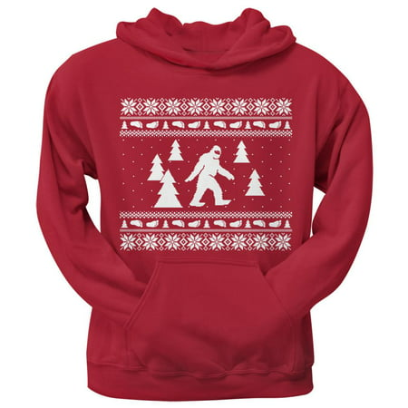 Sasquatch Ugly Christmas Sweater Red Adult Pullover Hoodie](Red Ugly Christmas Sweater)