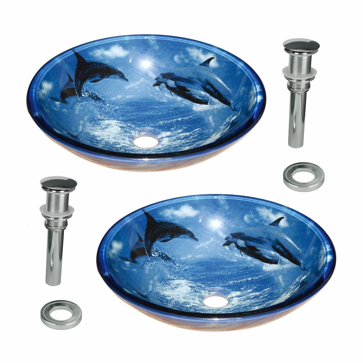 Tempered Glass Vessel Sinks with Drain, Dolphin Design Bl...