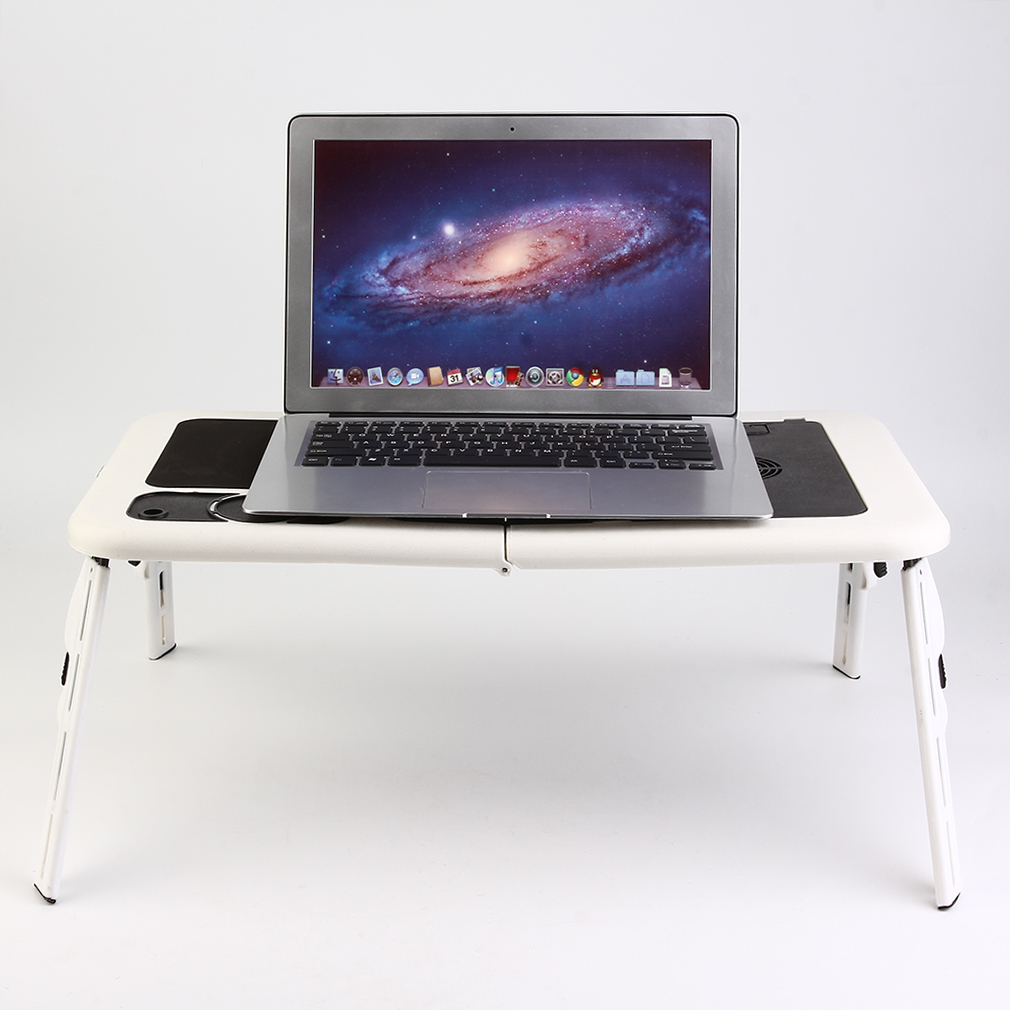 Ergonomic Portable Foldable Lapto P Computer Table Tray Desk With Cooling  Fan