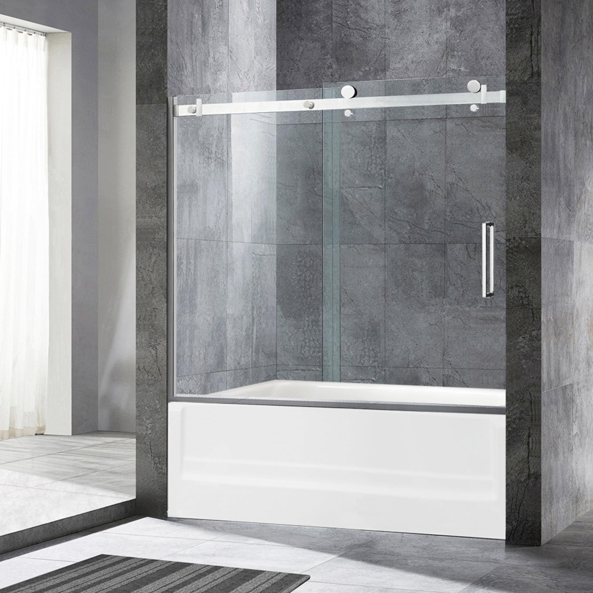 Woodbridge Deluxe Frameless Sliding Tub Door 5 16 Clear Tempered Glass Brushed Nickel Finish 60 X 62 Msdf6062 B Walmart Com