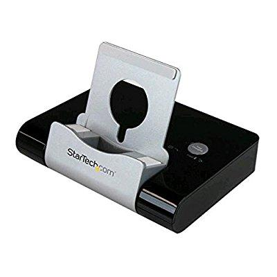 startech.com 3 port usb 3.0 hub for laptops & windows-based tablets + fast-charge port (2.1a) & device stand - black