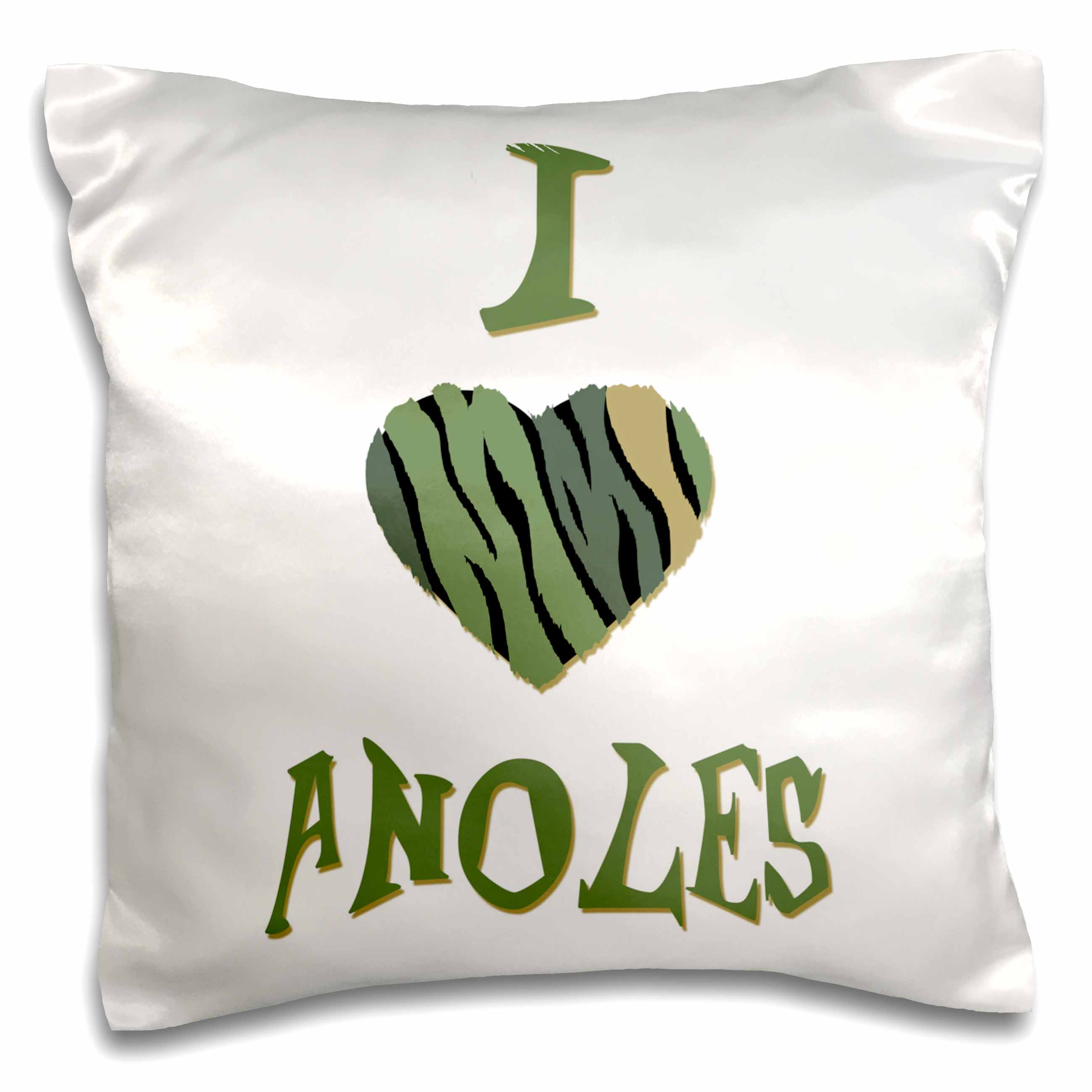 3dRose  Camo Colored Striped I Love Anoles, Pillow Case, 16 by 16-inch