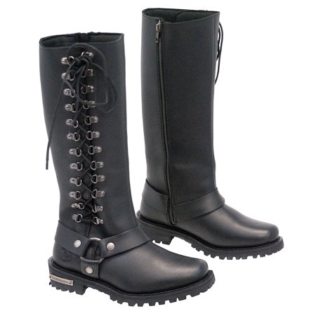 1337b1c2191 Women's Tall Milwaukee Side Lace Harness Riding Boots with inside Zipper  #BL9365TZLHK
