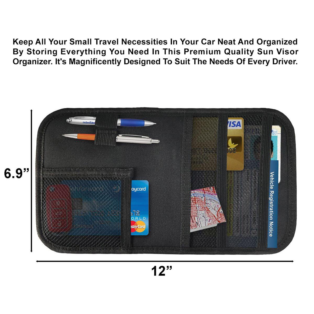 Sun Glasses Car Sun Visor Organizer Storage Auto Accessories Document Holder Registration /& Insurance Cell Phone