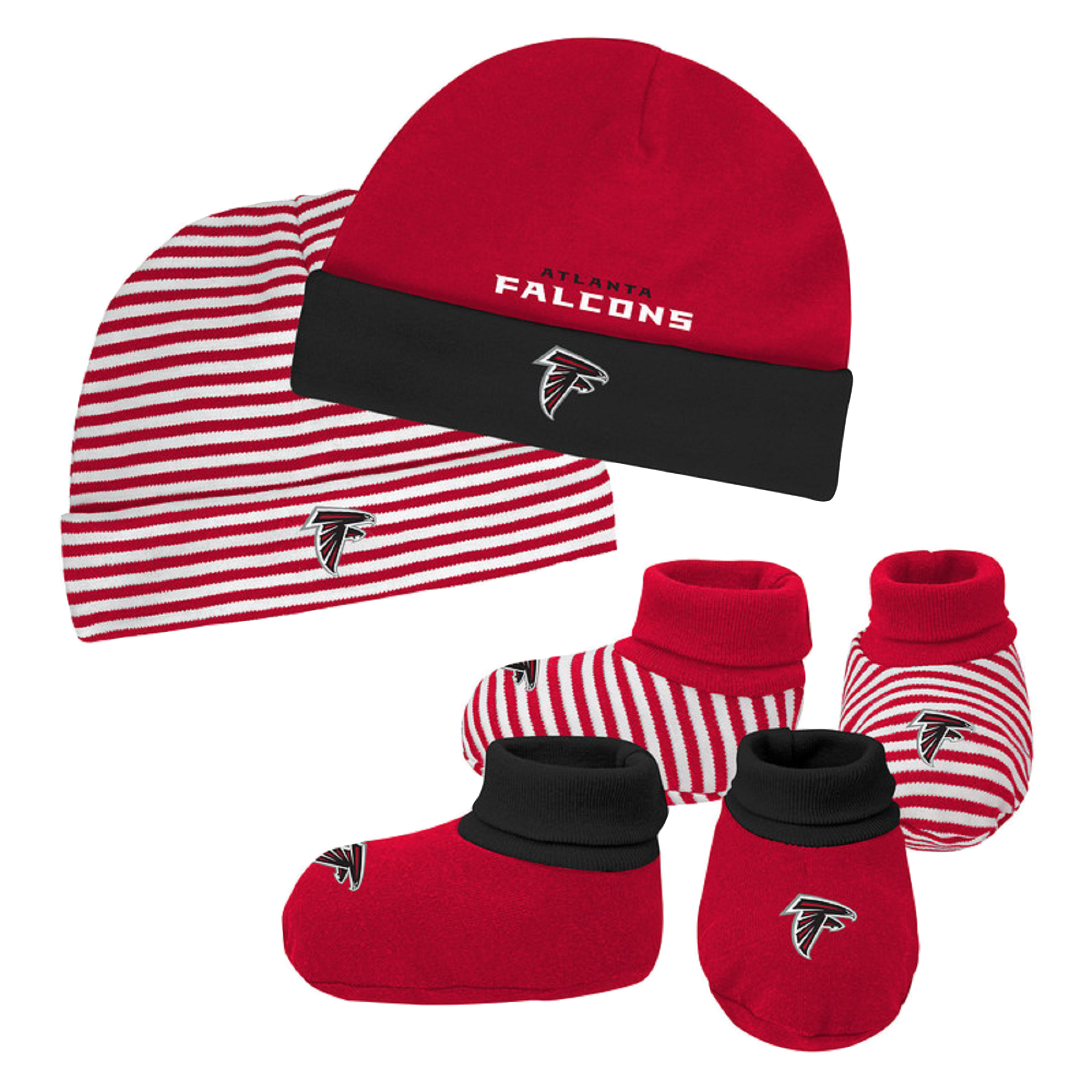 Newborn & Infant Red/Black Atlanta Falcons Cuffed Knit Hat & Booties Set - Newborn