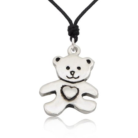 Teddy Bear Silver Pewter Charm Necklace Pendant Jewelry With Cotton Cord