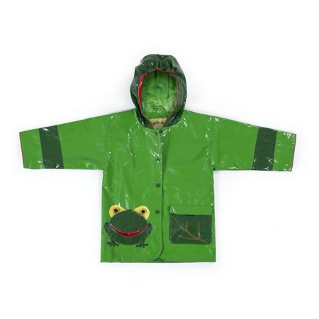 Little Boys Green Two Tone Frog Pocket Hooded Rain Coat