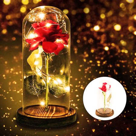 Style Dome Light (Beauty and The Beast Rose Decor LED Light Glass Dome Gift for Mothers' Day Her)