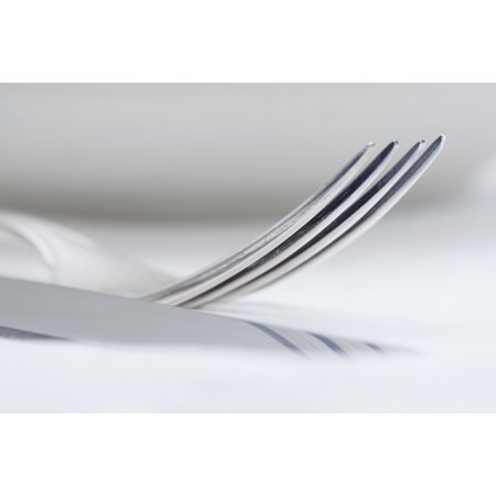 Elegant Table Setting - Extreme Closeup of Silverware Canvas Art - Panoramic Images (27 x 9) ()