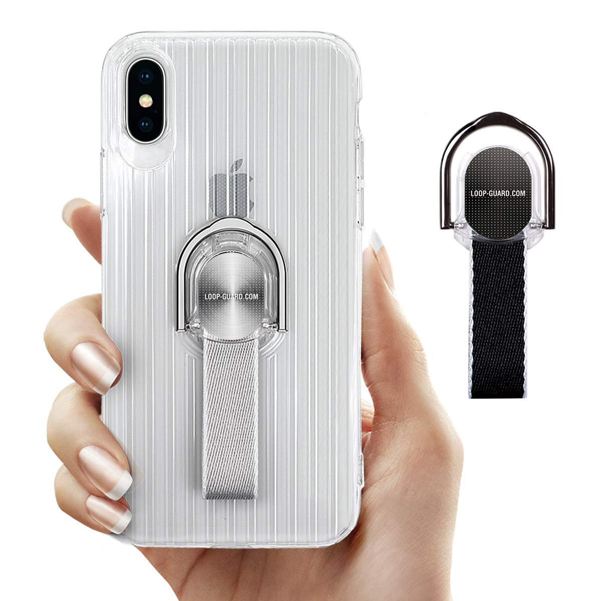 iPhone X Case with Ring Kickstand & Finger Straps, Crystal Clear Soft TPU Cover with Black & Gray Finger Loop Grips for Apple iPhone X/10, Works with Magnetic Mount & Wireless Charger