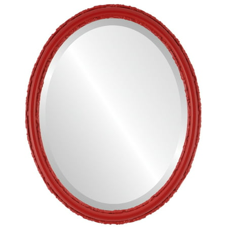 The Oval and Round Mirror Store Virginia Framed Oval Mirror in Holiday Red - Halloween Stores In Virginia