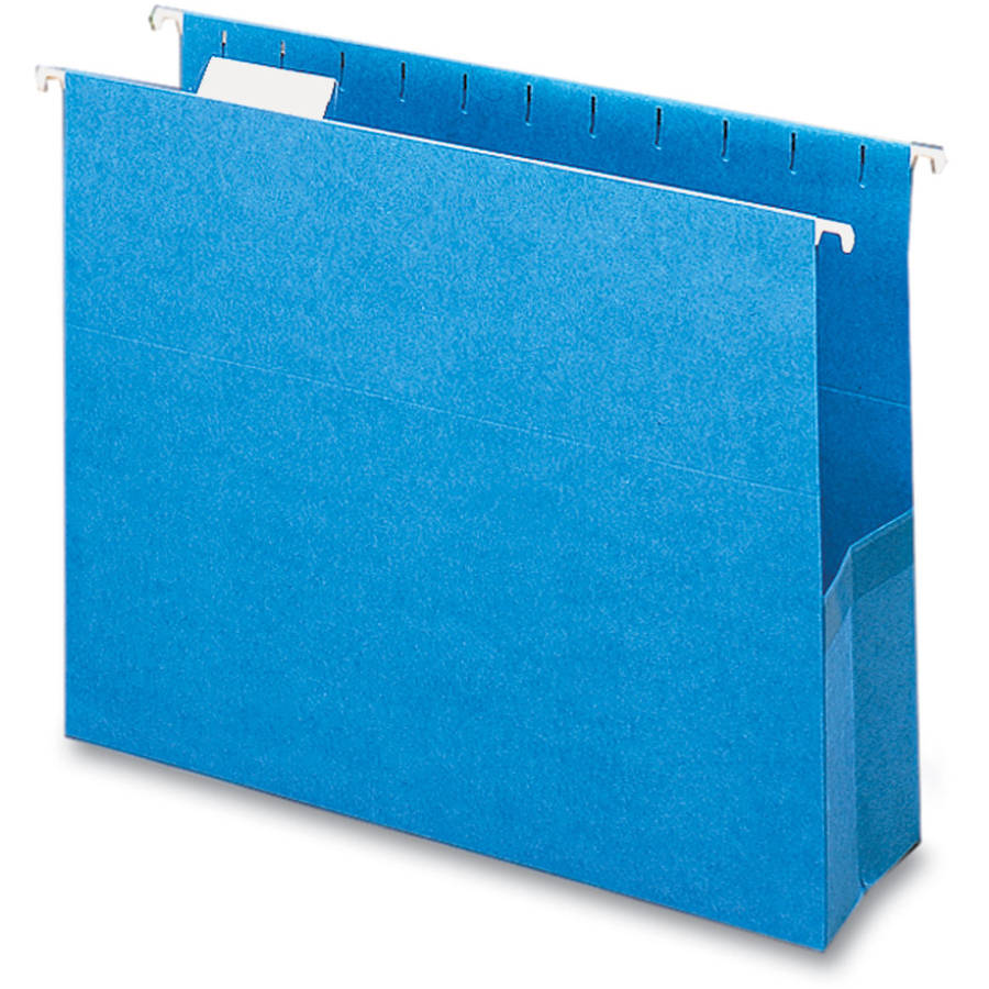 """Smead Closed Side Flexible Hanging File Pockets 3"""" Capacity, Sky Blue, Box of 25"""