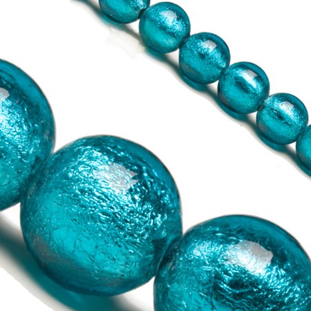 - Blue Dichroic Glass Bead With Silver Color Foil 10mm Round Sold per pkg of 25 pcs