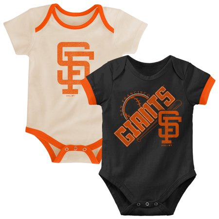 San Francisco Giants Infant Cooperstown Collection Groovy Game Two-Pack Bodysuit Set - Black/Tan ()