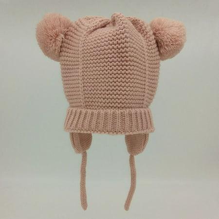 SHOPFIVE Childrenand#39;S Wool Double Ball Earmuffs Hat Winter Warm Kids Supplies (Pink Kids Earmuff)