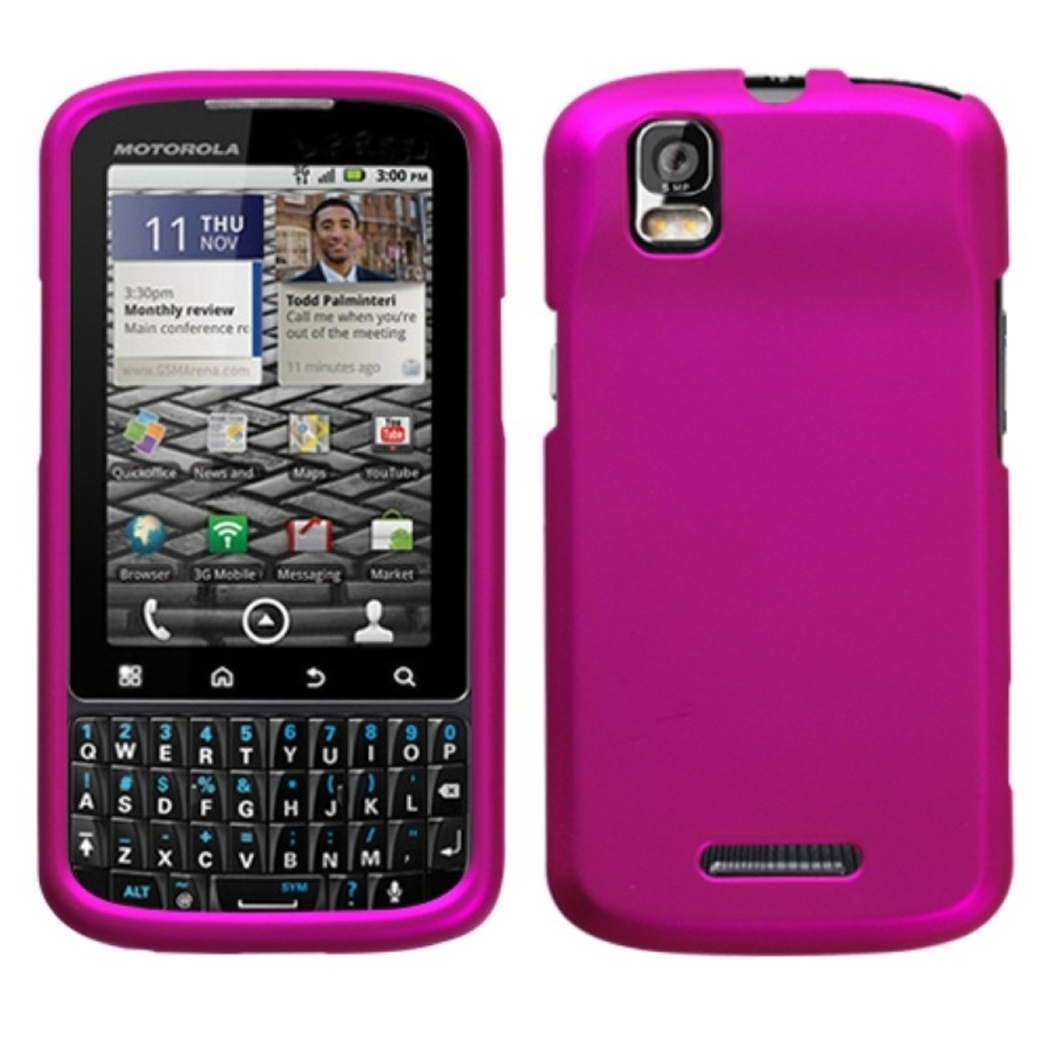 Insten Titanium Solid Hot Pink Phone Case for MOTOROLA: XT610 (Droid Pro)