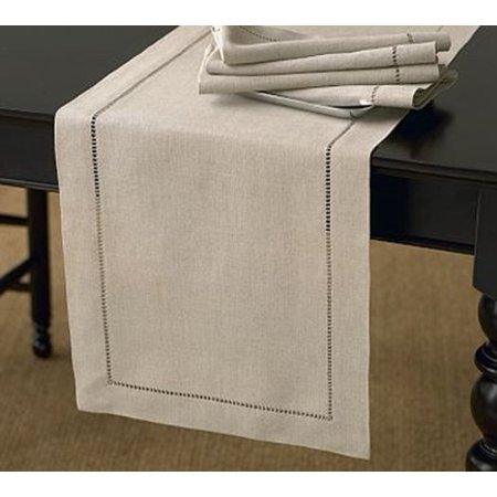 Handmade Hemstitch Design Natural Table Runner. One Piece. 16