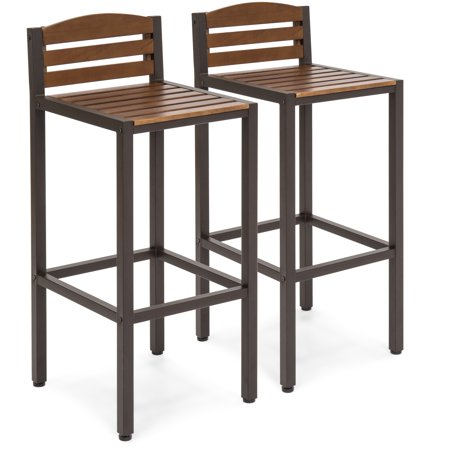 Best Choice Products Set of 2 Outdoor Acacia Wood Accent Barstools w/ Slatted Seat and Backrest for Backyard Bar, Patio- Brown