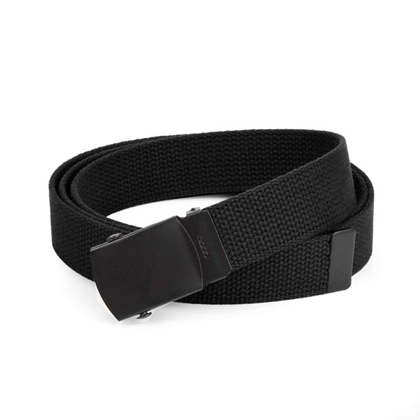Hold'Em Military Canvas Webbing Belts for MEN Black Slider Buckle Heavy Duty Adjustable