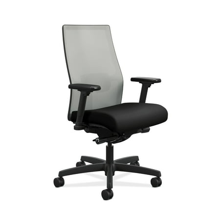 HON Ignition 2.0 Mid-Back Adjustable Lumbar Work Chair - Fog Mesh Computer Chair for Office Desk, Black Fabric (HONI2M2AFLC10TK)