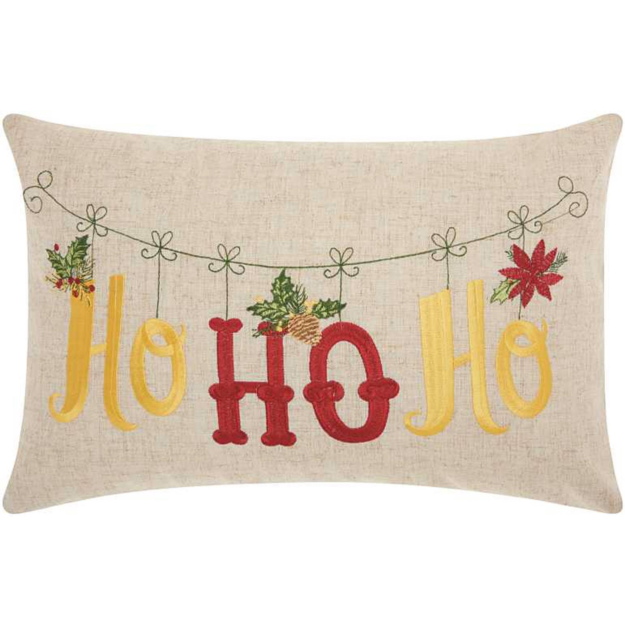 Nourison Home For The Holiday Ho Ho Ho Holiday Natural Throw Pillow