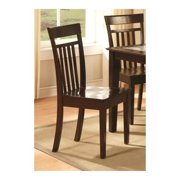East West EWCDC-CAP-W Capri slat back Chair with wood Seat, Cappuccino - Pack of 2