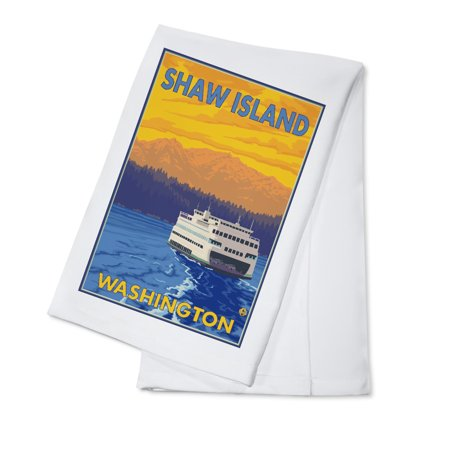Ferry and Mountains - Shaw Island, Washington - LP Original Poster (100% Cotton Kitchen Towel)