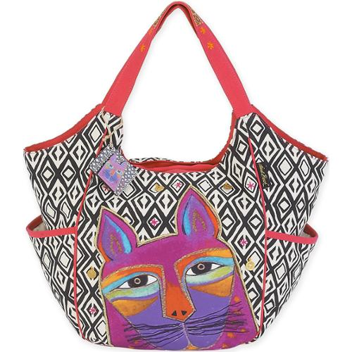 "Scoop Tote 20""X6""X12.5""-Whiskered Cats - Fuchsia"