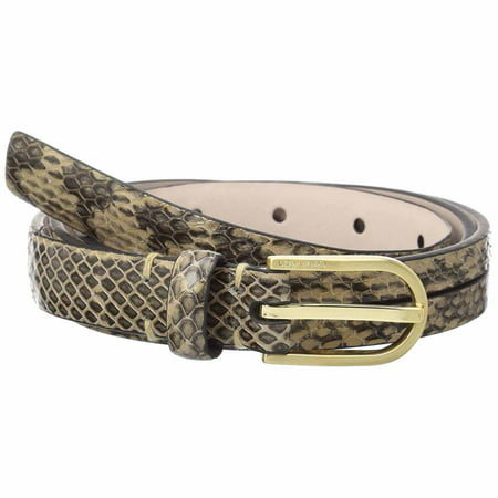Calvin Klein Womens Python Embossed Belt With Crossed Straps (Natural, X-Large)