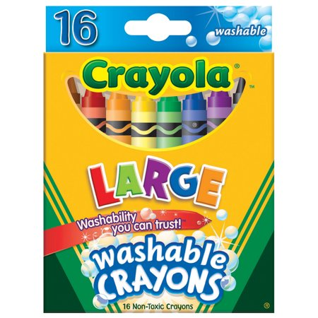 Crayola Large Non-Toxic Washable Crayon, 7/16 X 4 in, Assorted Color, Pack of 16 - Non Toxic Crayons