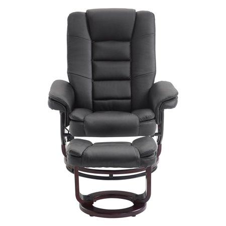 Cloud Mountain Faux Leather Swivel Recliner Chair With Ottoman