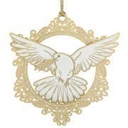 "3"" White 24K Ornate Peace Dove Christmas Keepsake Ornament"
