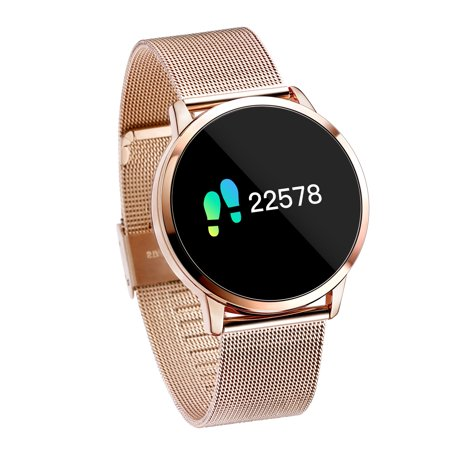 Diggro Q8 Milanese Metal Smart Watch OLED Color Screen Heart Rate Monitor Blood Pressure Oxygen IP67 Pedometer Men Women Sport Fitness Tracker Watches,Rose Gold Chest Womens Heart Rate Monitor