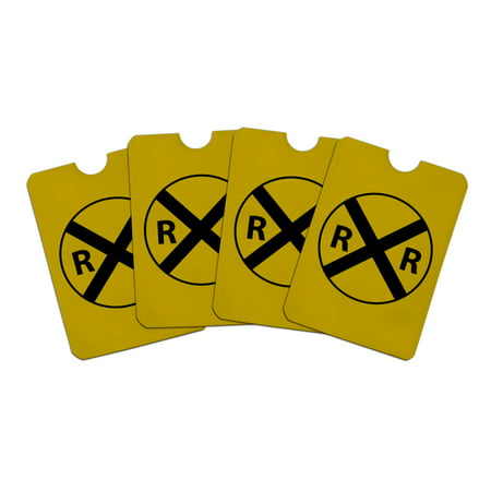 Railroad Crossing Traffic Sign Train Credit Card RFID Blocker Holder Protector Wallet Purse Sleeves Set of (Capital One Credit Card Sign In Uk)