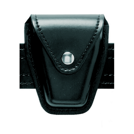 Safariland Model 190H Handcuff Case With Top Flap And Tapered Bottom, Black, Plain with Hidden Snap For Standard Hinged