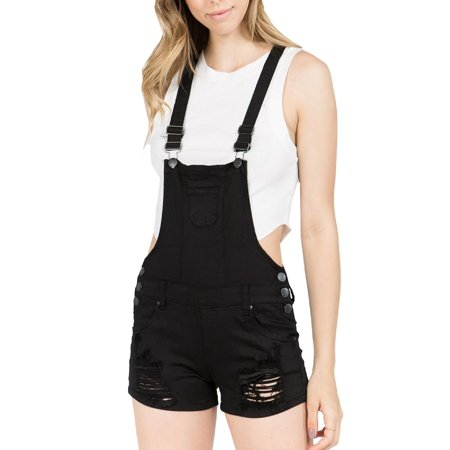 Made by Olivia Women's Juniors Distressed Cuffed Denim Overalls Black L](White Overalls Halloween)