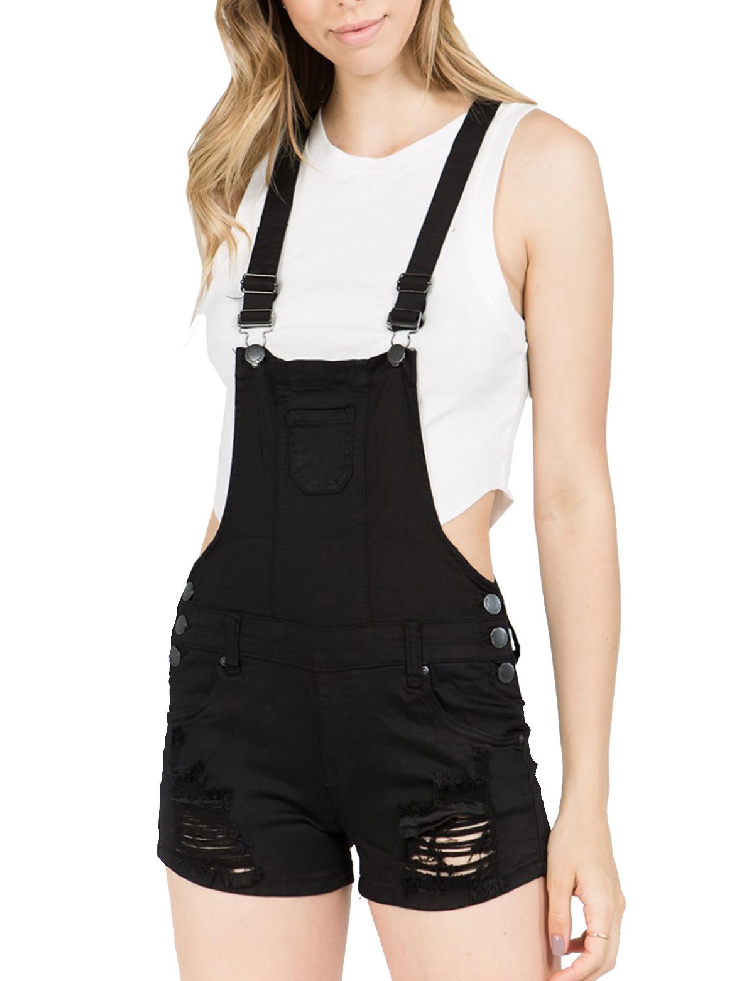 Made by Olivia Women's Juniors Distressed Cuffed Denim Overalls Black L