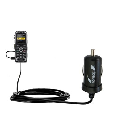 Gomadic Intelligent Compact Car / Auto DC Charger suitable for the Kyocera DuraPlus - 2A / 10W power at half the size. Uses Gomadic TipExchange Techno