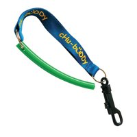 """Chubuddy 3/8"""" slim,strong tube green with 8 inch Clip-on tether for strong chewers"""