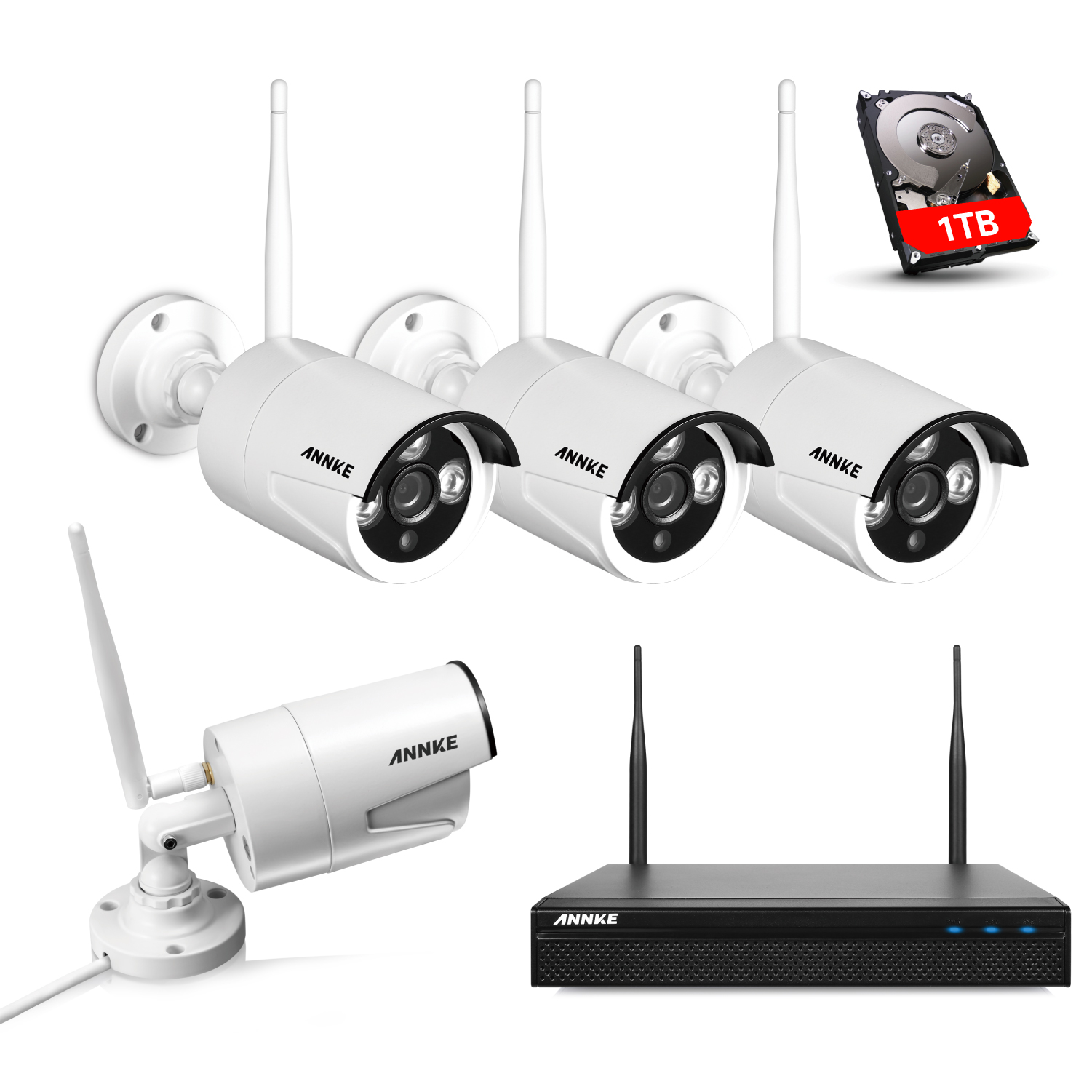 Annke 960P Wireless Network/IP Security Camera System, 4CH WIFI NVR with 4x 1.3MP Surveillance Cameras, Quick Remote view, 1280*960 High Resolution with Superior Night vision With 1TB Hard Drive Disk