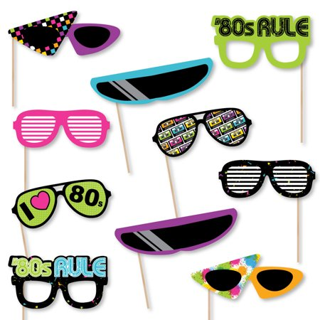 80's Retro Glasses - Paper Card Stock Totally 1980s Party Photo Booth Props Kit - 10 Count](1980s Theme)