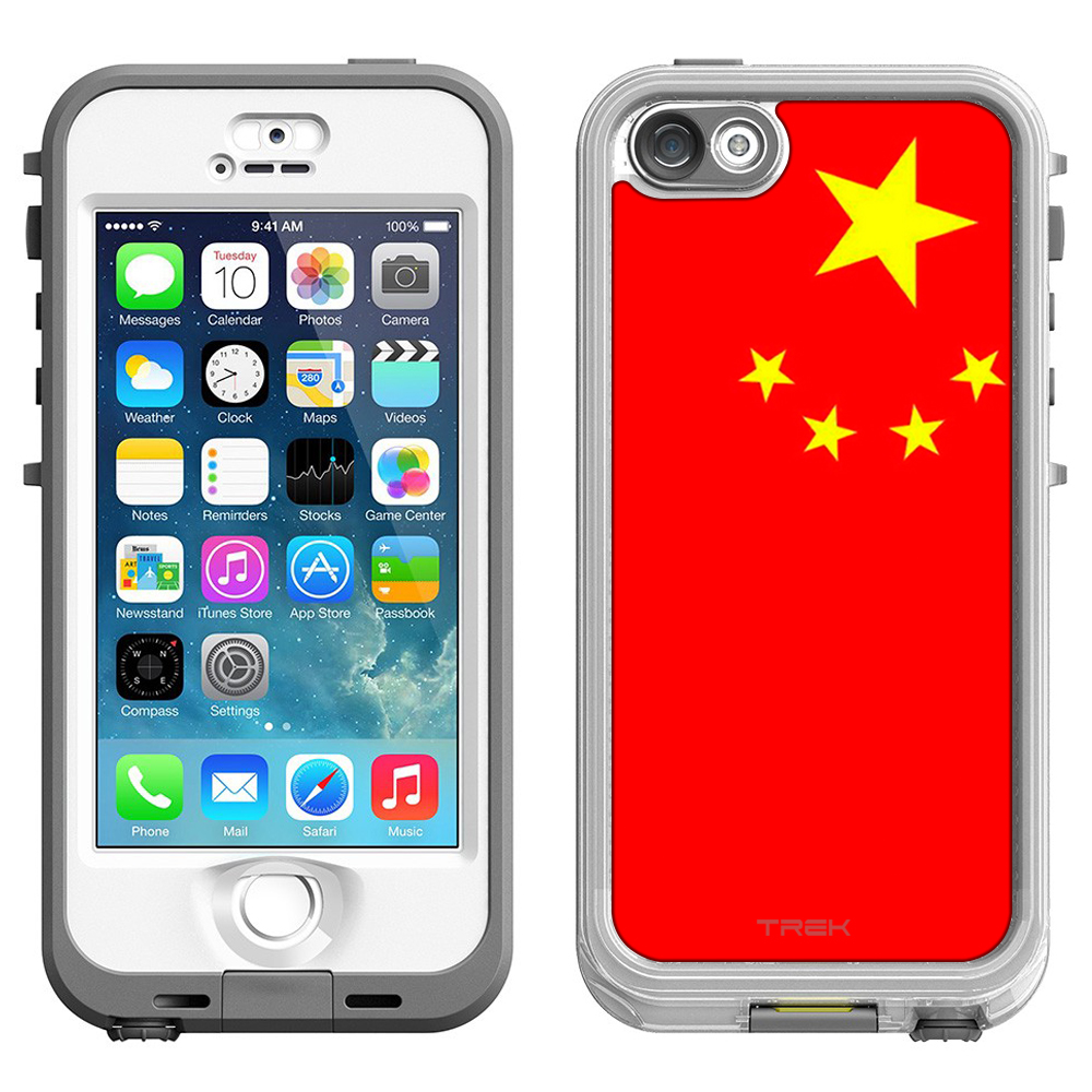 Skin Decal for LifeProof Nuud Apple iPhone SE Case Chinese Flag by Trek Media Group